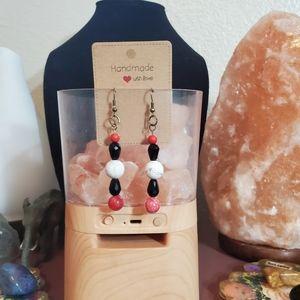 Handmade howlite and red quartz beaded earrings